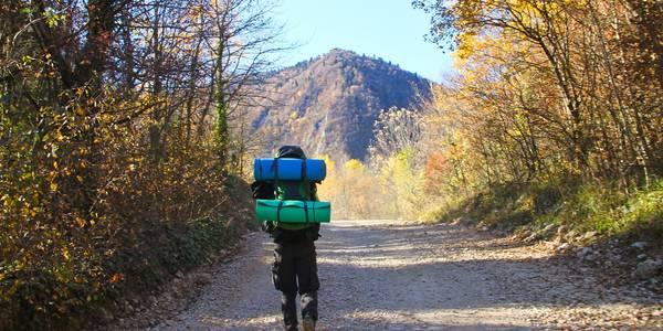 Wanderer mit Backpack