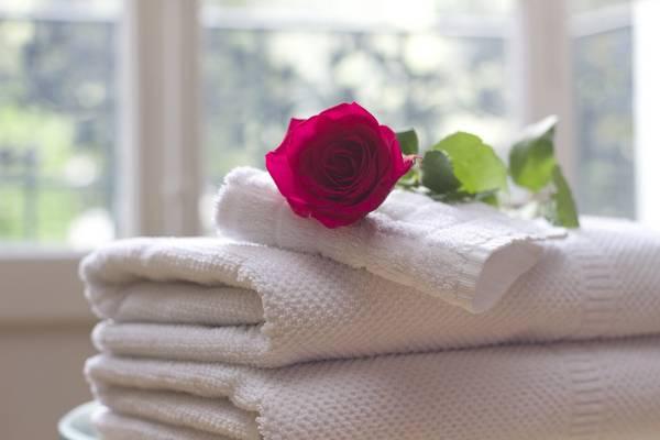 Rose und Handtücher im Hotelzimmer